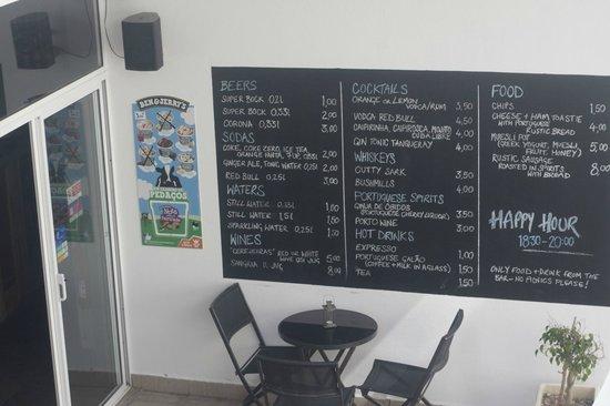 Amar Hostel & Suites : menu selection