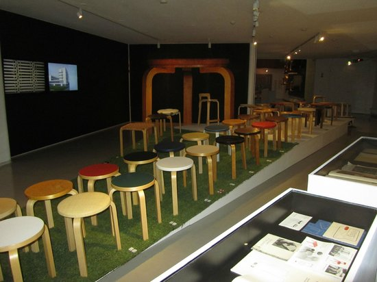 The Alvar Aalto Museum : Starring Aalto stool - different models over the decades