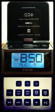 Quality Inn: iHome dual alarm clock radios in King & Suite Room Types
