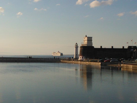 Fort Perch Rock with Queen Elizabeth in the background