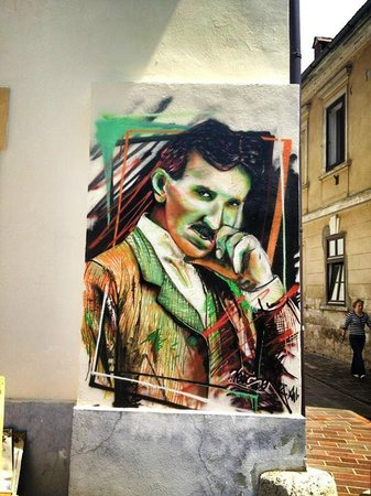 Nice painted picture of Tesla on the wall of Social Club