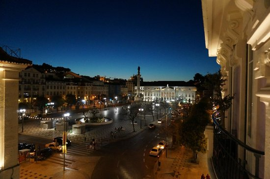 Internacional Design Hotel: View from our balcony (305 - Zen) at night looking towards Rossio Square