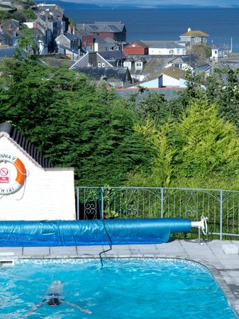 Trennicks B&B: Mevagissey and lighthouse, from the pool and garden