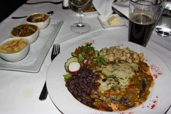 Lambert's of Taos : Soup sampler & mango chicken enchilada