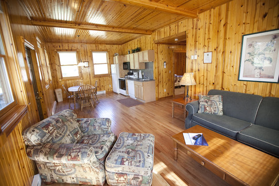 Coyote Crossing Resort : Knotty pine interior, full kitchen, pull out couch and more.