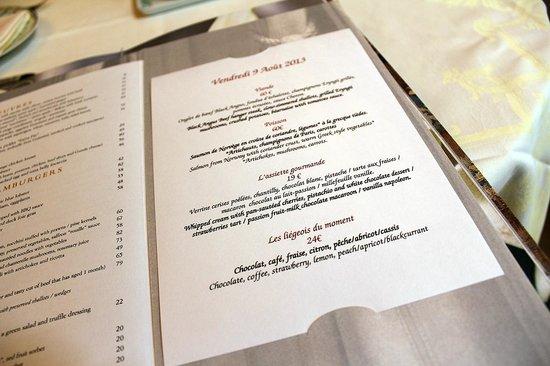 La carte du jour pour le d jeuner photo de four seasons - Hotel georges v paris prix chambre ...