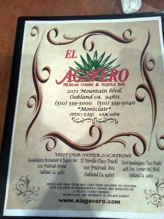 El Agavero: Menu