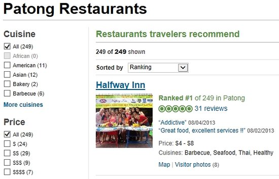 Halfway Inn (Restaurant): We are Number 1 in Patong!!!