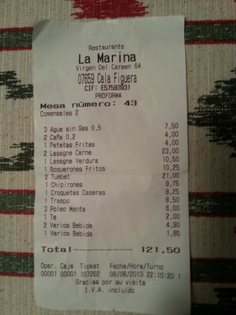 Pensio Restaurante La Marina: copy of the bill