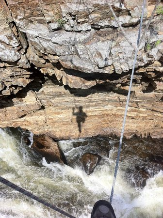 Ausable Chasm Campground: view from cable suspension bridge over chasm