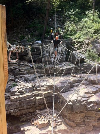 Ausable Chasm Campground: cable suspension bridge over the chasm