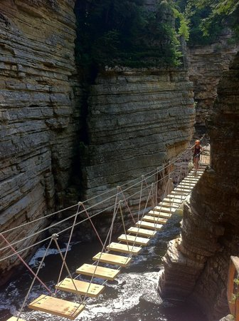 Ausable Chasm Campground: suspension bridge along side of chasm