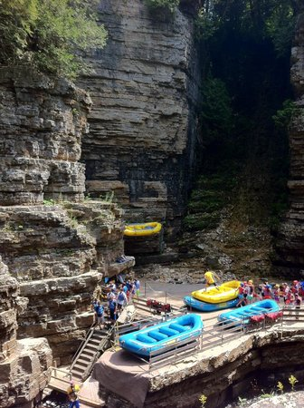 Ausable Chasm Campground: rafting and tubing launch in chasm