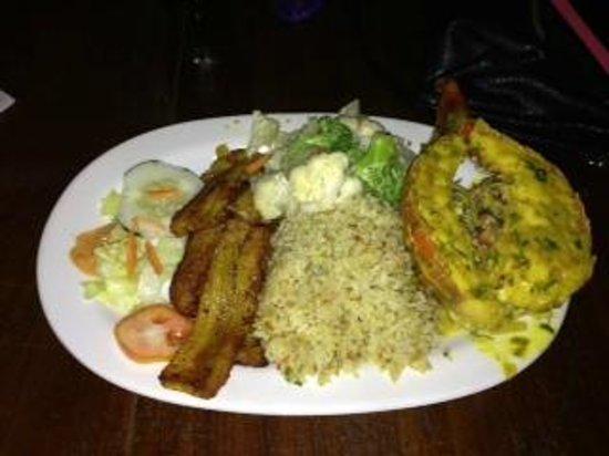 Asha's Culture Kitchen: Lobester tail, veggie rice & plantains