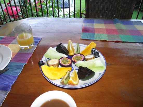 The Epiphyte Bed and Breakfast: Breakfast of tropical fruit.