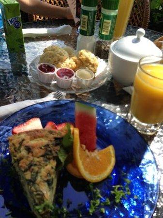 Wildflower Cafe: spinach & artichoke quiche w/ buttermilk biscuits & honey butter