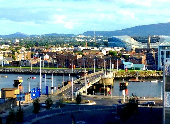 The Gibson Hotel View Of River Liffey With Wicklow Mountains In Background