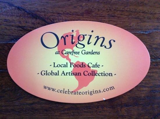 Origins Cafe at Carefree Gardens : the card