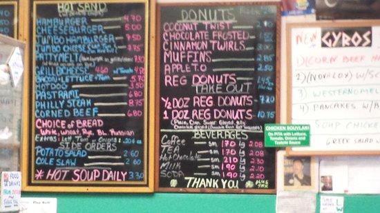 Coffee An'donut Shop: menu on board