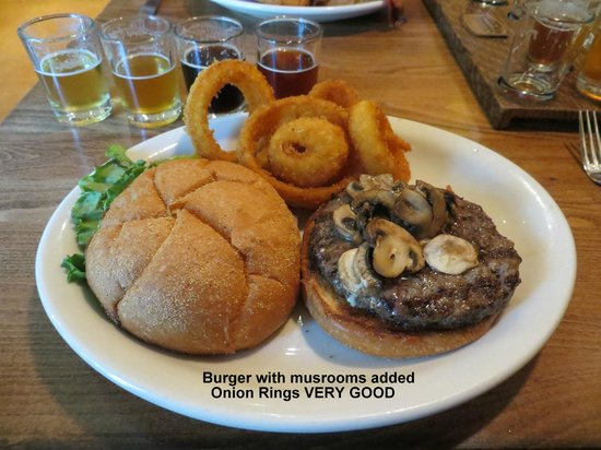 Three Creeks Brewing: Burger and onion rings