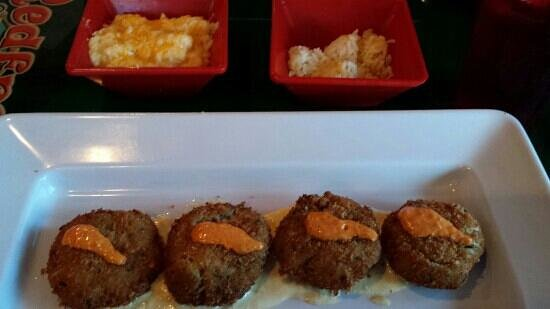 Coquina Beach Surf Club: Crab Cakes with Cheese Grits and Coconut Rice