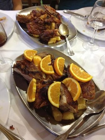 Gouveia, Portugal: third course: pork and lamb with potatoes