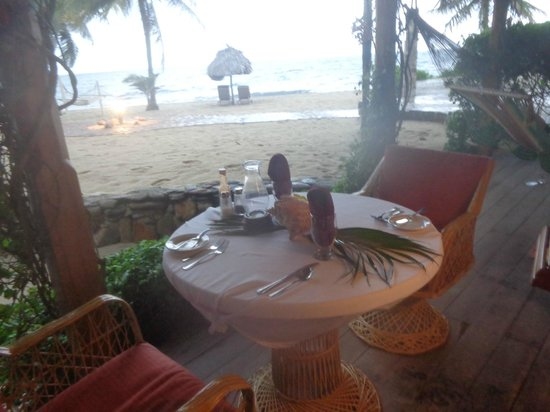 Jaguar Reef Lodge & Spa: Dinner on our porch... personally delivered