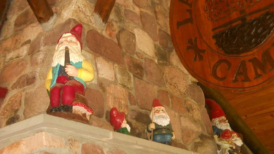 Lake in Wood Resort : Gnomes greet you all over the campground.