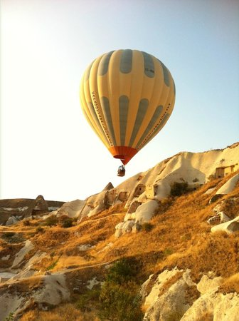Hot air balloon from the patio of the Fairy Chimney Inn, Goreme Turkey