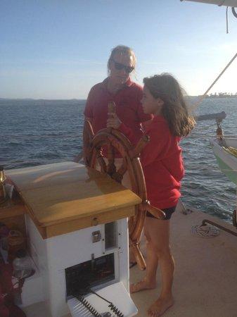 Argia Cruises: Learning how to steer the schooner.