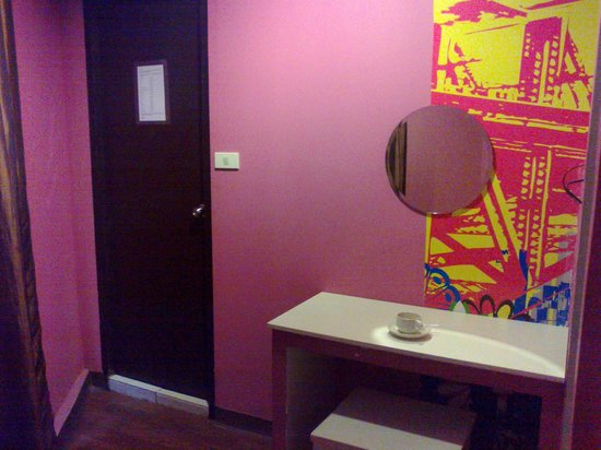 Take a Nap Hotel: The bathroom door and the make up table.