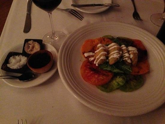 Elaine's on Franklin: local heirloom tomatoes topped with fried green tomatoes and assorted salts
