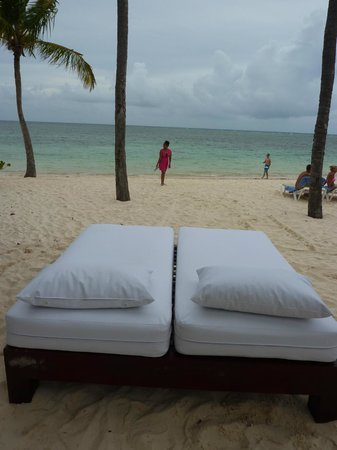 "Catalonia Royal Bavaro: beach beds on the ""Preferred"" Cat. Bavaro side"