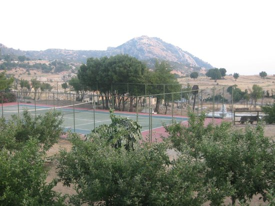 Blacktree Farm and Cottages: View of tennis court/mountains