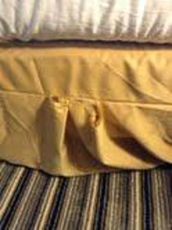 Holiday Inn Express Hotel & Suites Batavia - Darien Lake: ripped/stained bed skirt