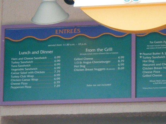 Disney's Old Key West Resort: menu at goods to go