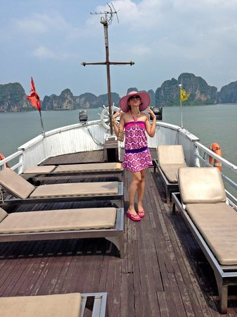 Halong Phoenix Cruiser Day Tour: On top of the boat!