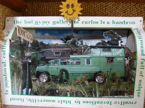 The Lost Gypsy Gallery: A postcard of the Lost Gypsy Galley on the wall of the Lost Gypsy Galley.