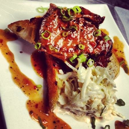 Twisted Olive: Braised Carolina style short rib barbecue on garlic toast with a side of spicy slaw