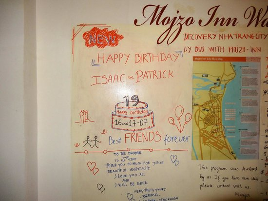 Mojzo Inn: they wrote on their board
