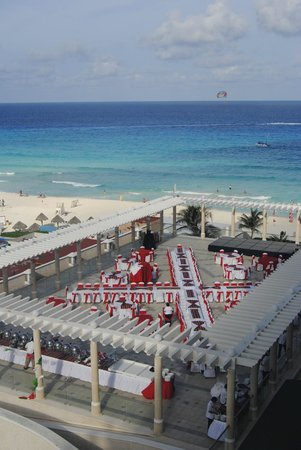 Sandos Cancun Luxury Resort: View from room: the Mexican Fiesta being set up!