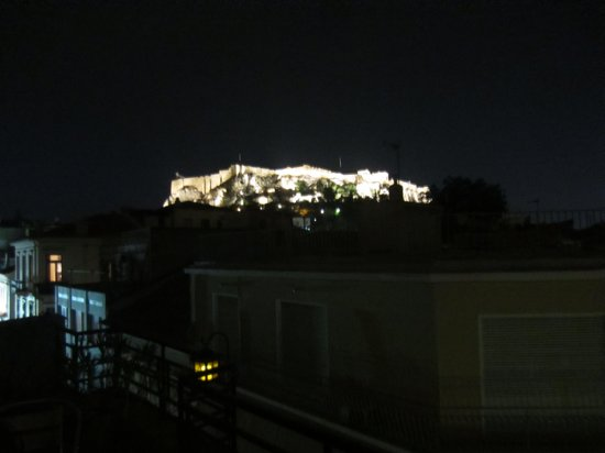 Kimon Athens Hotel: View from rooftop terrace (night)
