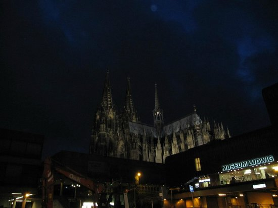 Hotel Mondial am Dom Cologne MGallery by Sofitel: Cologne cathedral night view from front of hotel 7/30/13