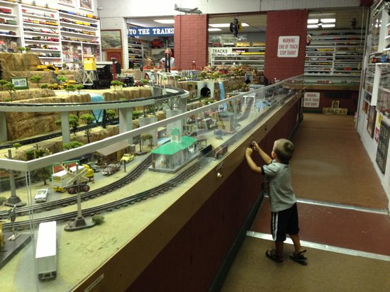 Pressing buttons at Big River Train Town
