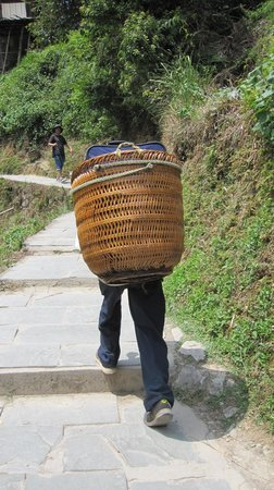 Long Ji One Hotel : Locals carrying bags for visitors up the path to the hotel