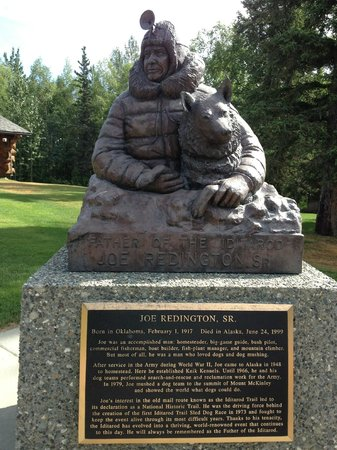 "Iditarod Headquarters: Statue of Joe Redington, ""Father of the Iditarod"""