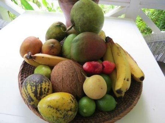 Fond Doux Plantation & Resort: Fruit basket in our cottage
