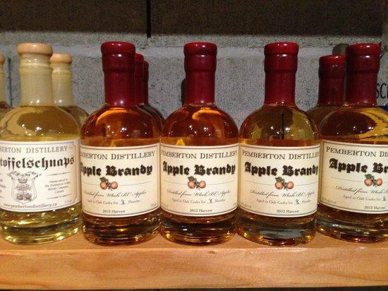 Pemberton Distillery : Organic Apple Brandy on the shelf