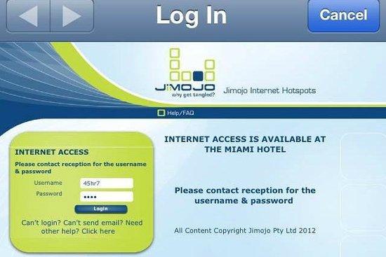 Miami Hotel Melbourne: Internet Log In