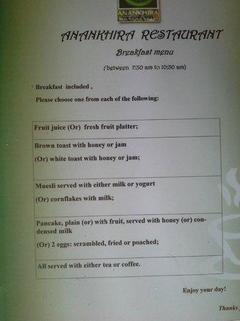 Anankhira Villas: Desayuno